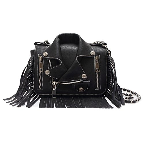 Biker Jacket Crossbody (Black)